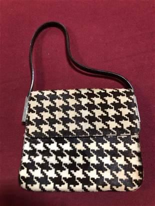 Dolce & Gabbana houndstooth print real fur purse