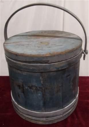 1800s handled firkin original blue paint