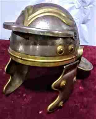 Roman style steel and brass helmet