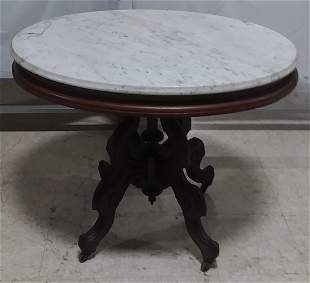 Victorian era white marble top lamp table