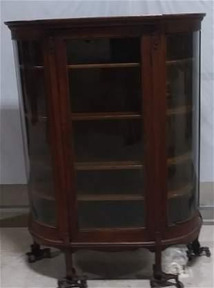 Curved glass oak China cabinet original shelves