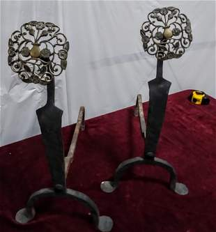 Pair 18th C Dutch penny footed andirons C. 1790