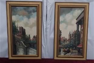 Pair of European oil on canvas Marcel Courtier PARIS