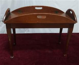 Hepplewhite style button foot cherry butlers table