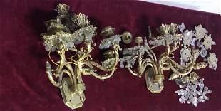 Pair of Bronze Baroque 8 light electric sconces