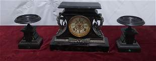 Ornate assembled 3 piece black slate and marble clock