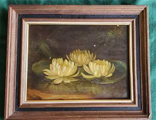 George Henry Hall Water Lilies OB 16x 12