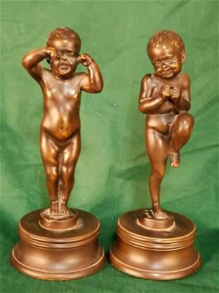 Pair B. Bouter Bronzes 10.5in Cherubs