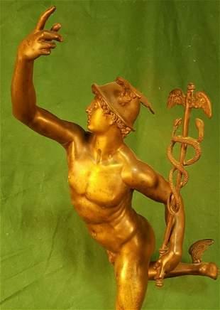 19th C Unsigned Bronze of Mercury 24in