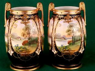 Pair Nippon Vases 7in Signed