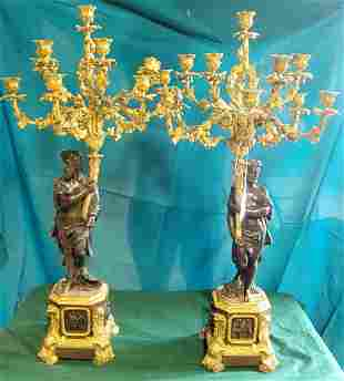 Pair French Empire Candelabra 36in