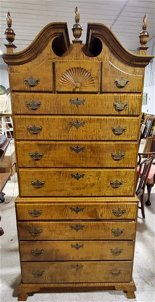 Custom Tiger Maple Chippendale Highboy
