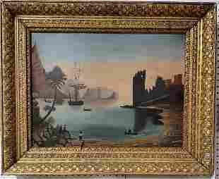 Mid 19th century Folk Art oil on board 24in x 18in