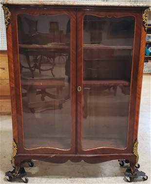 """Bronze mounted marble top bookcase cabinet 45""""h x 58"""""""