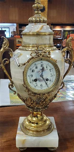 """Gilt and Marble footed 19th Century Clock 21.5"""""""