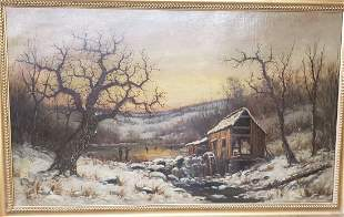 """Oil /canvas painting signed J or G Taylor 48"""" by 28"""""""