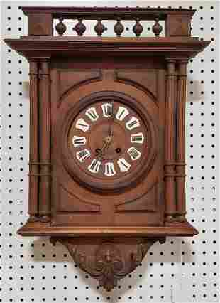 Oak Case Wall clock Porcelain numbers original finish
