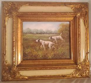 Oil on board Unsigned Pointer Hunting dogs