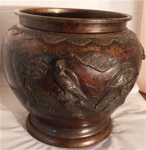 LARGE Bronze Bird Embellished Vase Signed