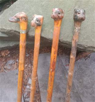4 hand carved wooden Bulldog Dog head Canes