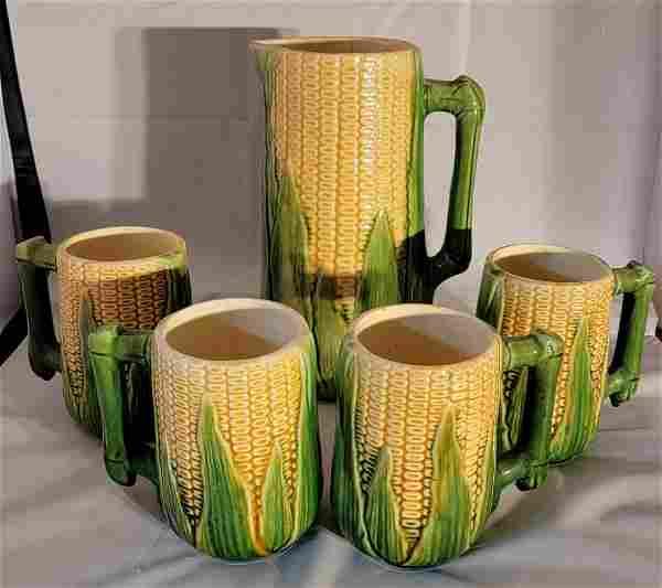 Majolica Corn Pitcher with 4 matching #46 mugs