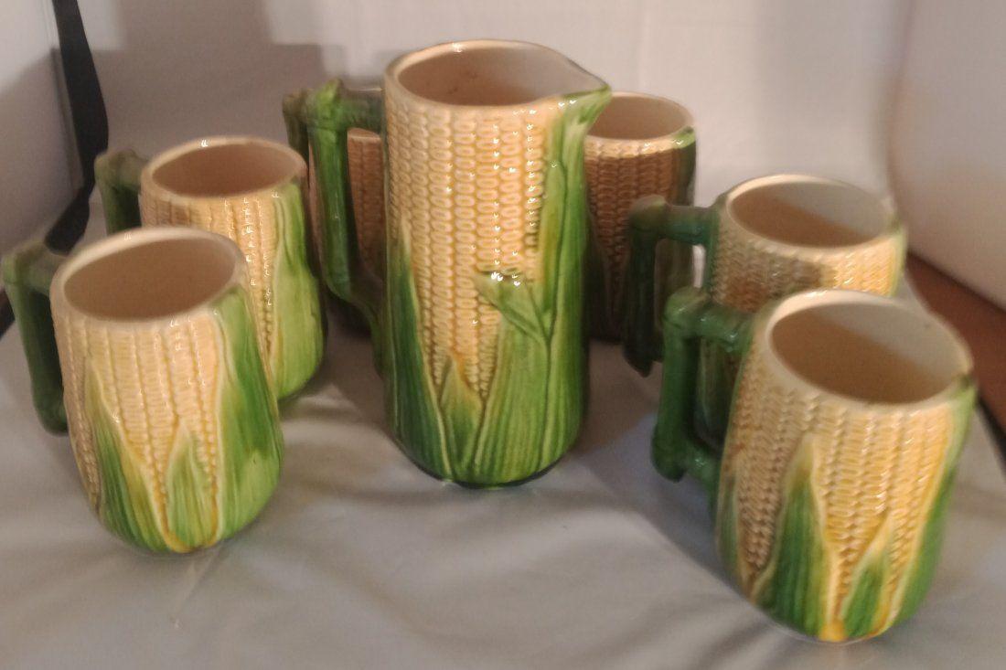 Majolica Corn Pitcher with 6 matching #46 mugs