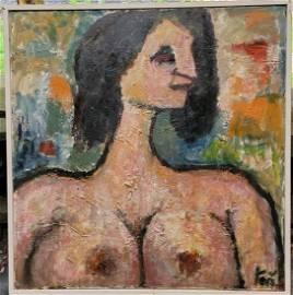 Frank Koci Famous Street Artist Oil on Board Nude woman