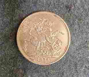 1876 Queen Victoria Gold Sovereign Coin