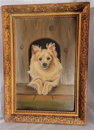 Oil on Board of American Eskimo dog 🐕 Antique