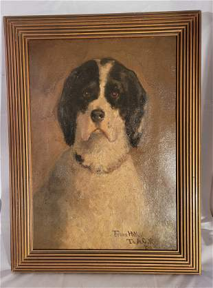 Oil on Canvas black and white dog signed HMK