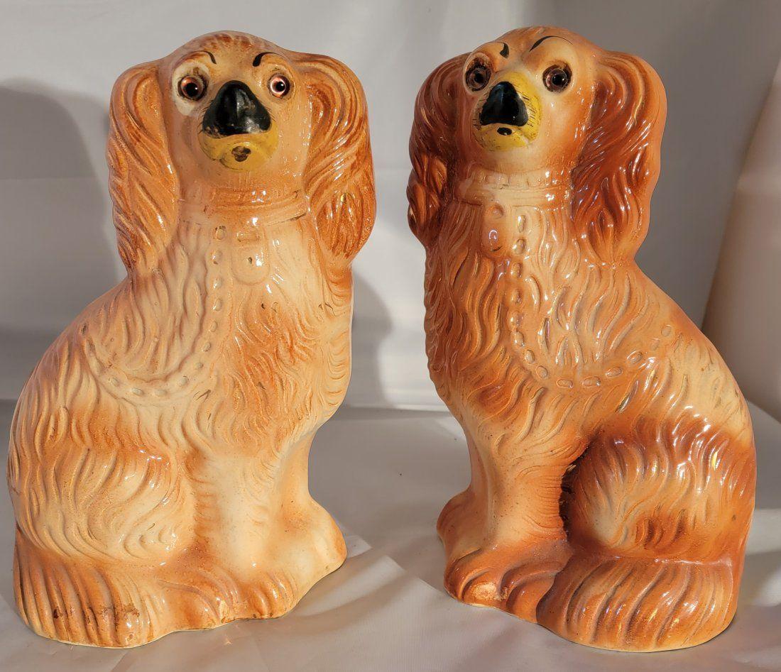Pair of Ceramic antique Staffordshire dog statues