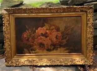 Oil on Board Roses floral still life gold gilt