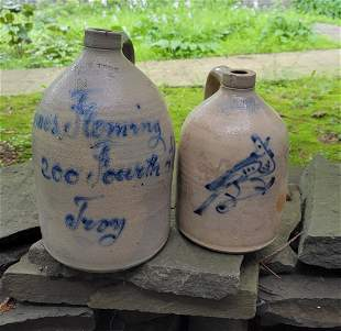 2 West Troy NY Pottery Handled Jugs with Blue designs