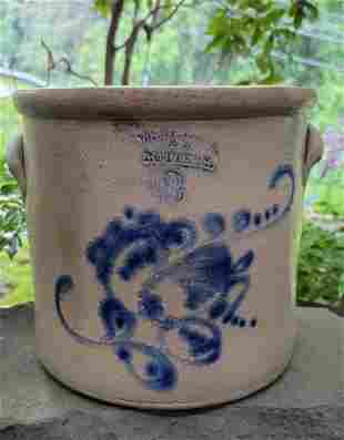 West Troy NY Pottery Crock with Blue design