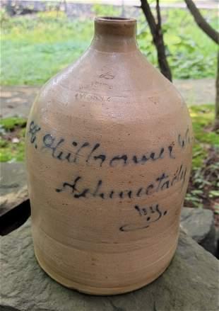 J Fisher Lyons NY 2 gallon Handled jug blue markings