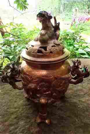 Bronze lidded Oriental figural foo dog burner