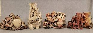 Lot of 4 Chinese Soapstone Carvings
