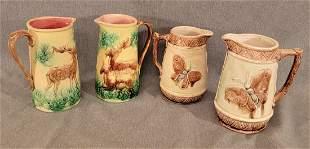 4 Majolica pitchers deer and butterflies 🦋