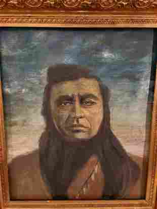 Mid 19th Century Oil on Canvas Native American Indian