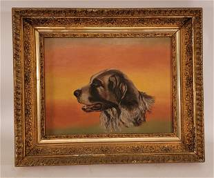 Unsigned Oil on Board Dog in Gold Gilted frame