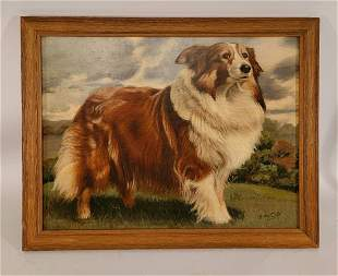 Oil on Board of Border Collie signed E Fritz G ?
