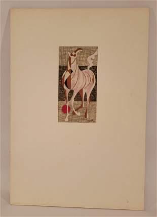 Tadashi Nakayama woodblock of horse