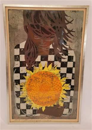 Tadashi Nakayama woodblock of girl with Sunflower 1957