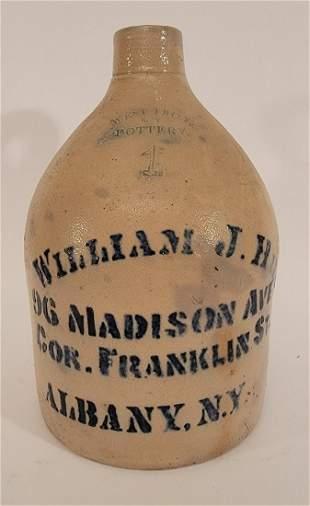 West Troy NY Pottery Jug William J Hill Albany, NY