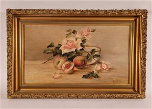 I. E Stacey oil on Board still life of flowers and frui