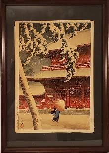 Kawase Hasui Color Woodblock Print Zojo Temple 1925