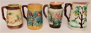 """Lot of 4 Antique Majolica Pitchers 8"""""""