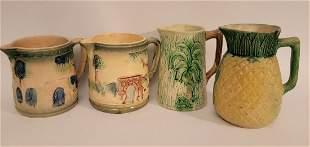 Lot of 4 Majolica pitchers unique designs