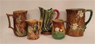 Lot of 5 Majolica pitchers creamers unique designs