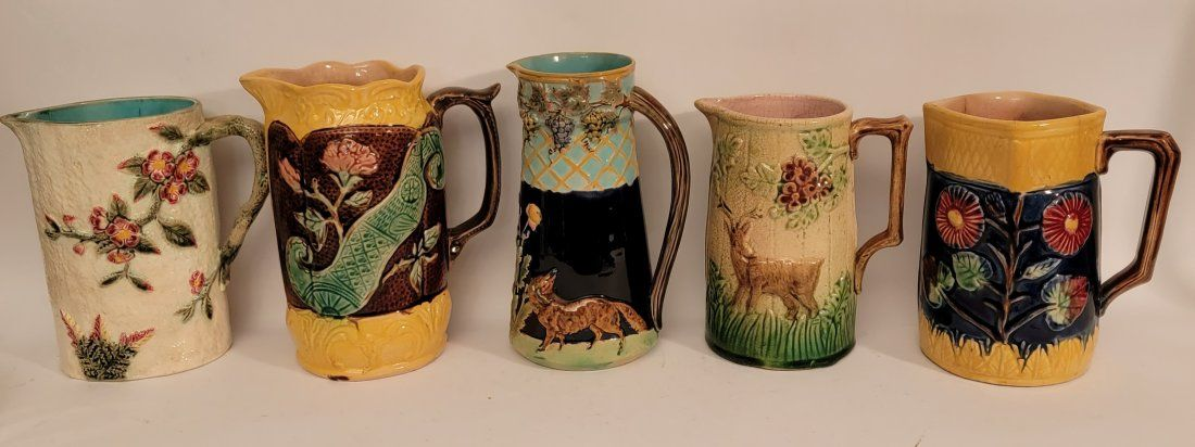 Lot of 5 Majolica pitchers with unique designs